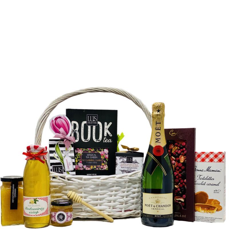 Gourmet ajándékkosár küldés francia pezsgővel